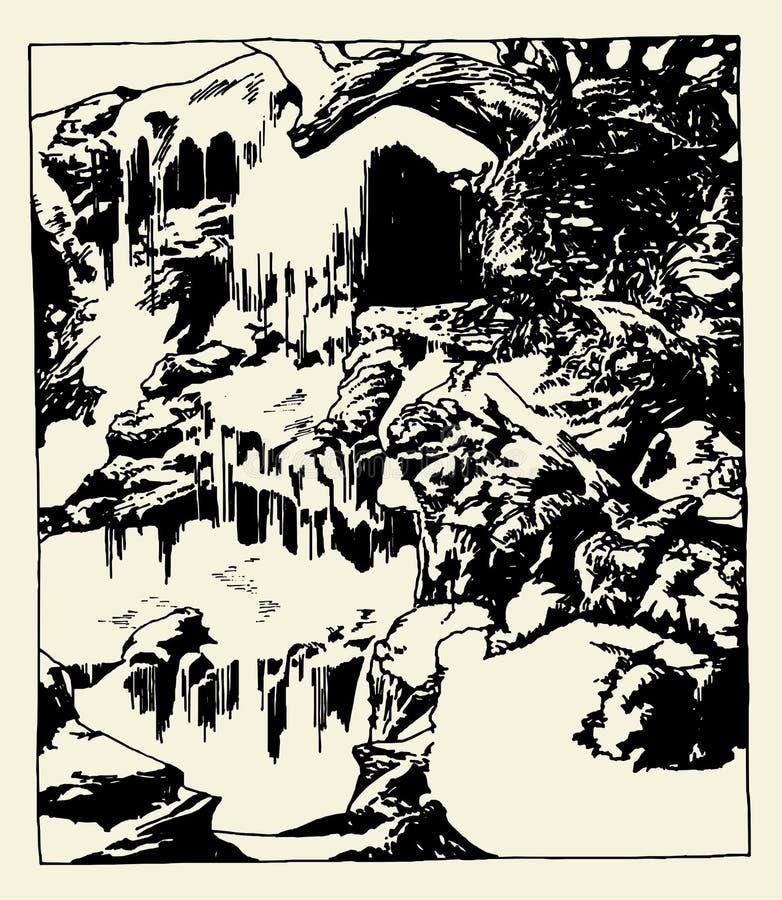 Van de achtergrond waterval Vector royalty-vrije illustratie