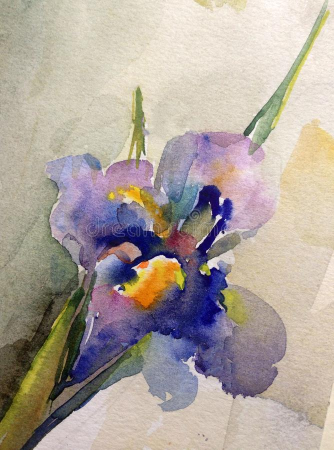 Van de achtergrond waterverfkunst abstracte bloemen enige fantasie natte was vage iris royalty-vrije illustratie