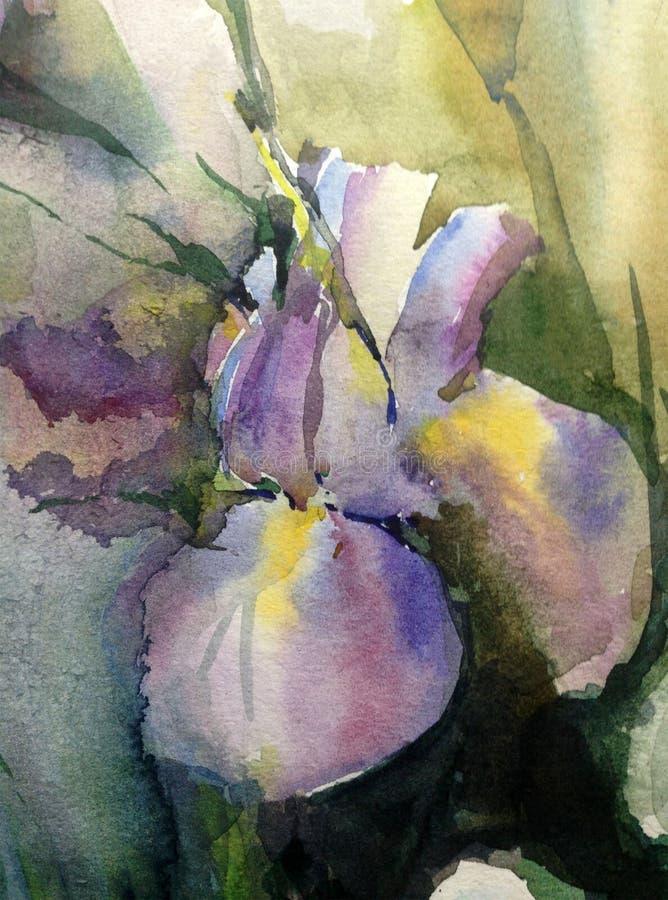 Van de achtergrond waterverfkunst abstracte bloemen enige fantasie natte was vage iris stock illustratie