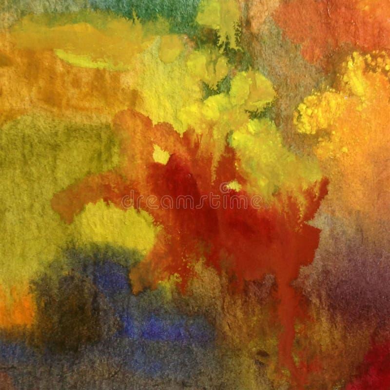 Van de achtergrond waterverfkunst abstracte de herfst geweven natte was vage kleurstof royalty-vrije illustratie