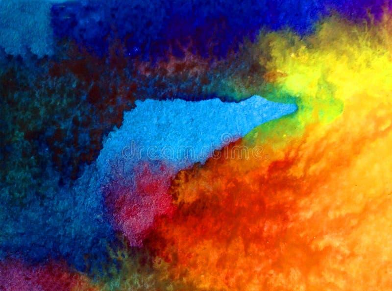 Van de achtergrond waterverfkunst abstracte onderwater trillende wereld oceaan natte was vage plons royalty-vrije illustratie