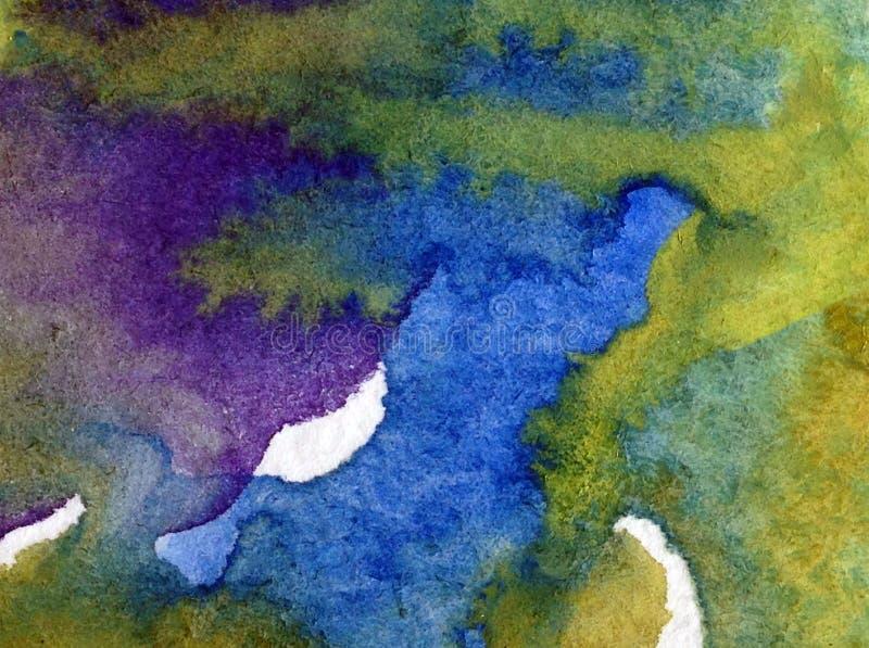 Van de achtergrond waterverfkunst blauwe violette geweven natte was vertroebelde de abstracte van het overzeese kustwater fantasi royalty-vrije illustratie