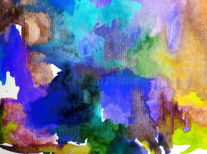 Van de achtergrond waterverfkunst geweven natte was vertroebelde de abstracte van het overzeese onderwaterwereldkoraal kleurstof stock illustratie