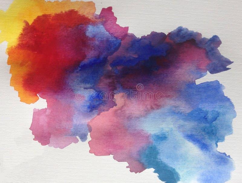 Van de van de achtergrond waterverfkunst de hemelwolk abstracte natte was kleurrijke geweven ochtend royalty-vrije illustratie