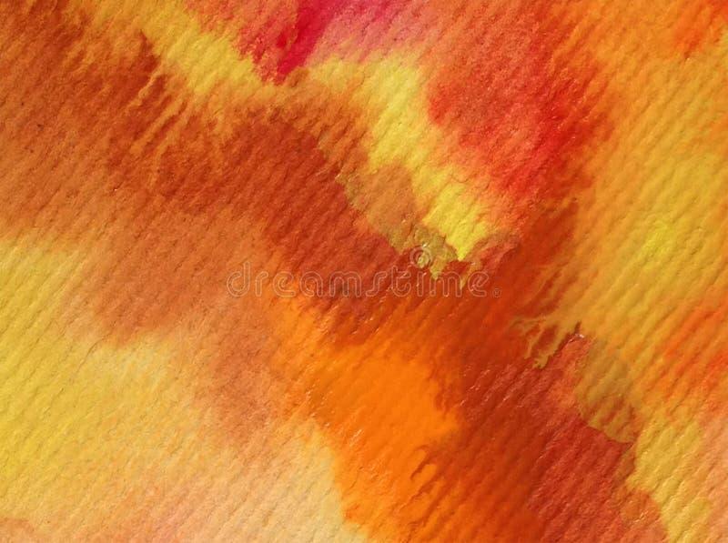 Van de van de achtergrond waterverfkunst van de het zandklei de abstracte de herfstwoestijn kleurrijke geweven rode oranje slagen royalty-vrije illustratie