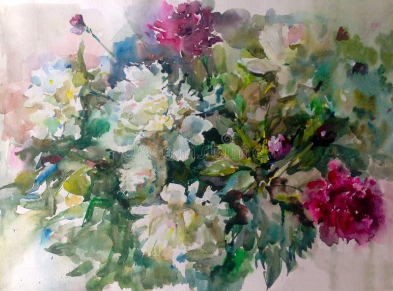 Van de achtergrond waterverfkunst kleurrijke bloempioenen vector illustratie