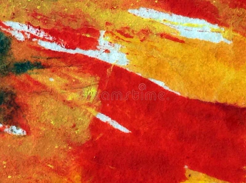 Van de van de achtergrond waterverfkunst kleurrijke geweven natte was vertroebelde de abstracte rode gele brandvlam oceaan royalty-vrije illustratie