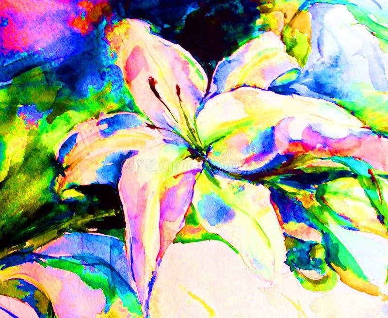 Van van de achtergrond waterverfkunst de lelieboeket gevoelig kleurrijk aard botanisch vers romantisch bloemen stock illustratie
