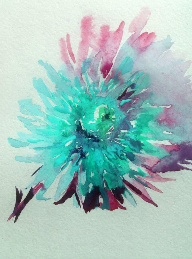 Van de van de achtergrond waterverfkunst romantische aard de bloemenbloem blauwe magenta dahlia stock illustratie