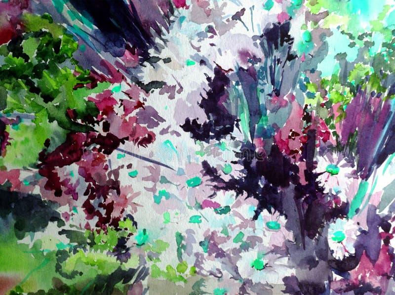 Van van de achtergrond waterverfkunst vertroebelde de abstracte de weide moderne geweven natte was verse mooie bloemenwildflowers stock foto