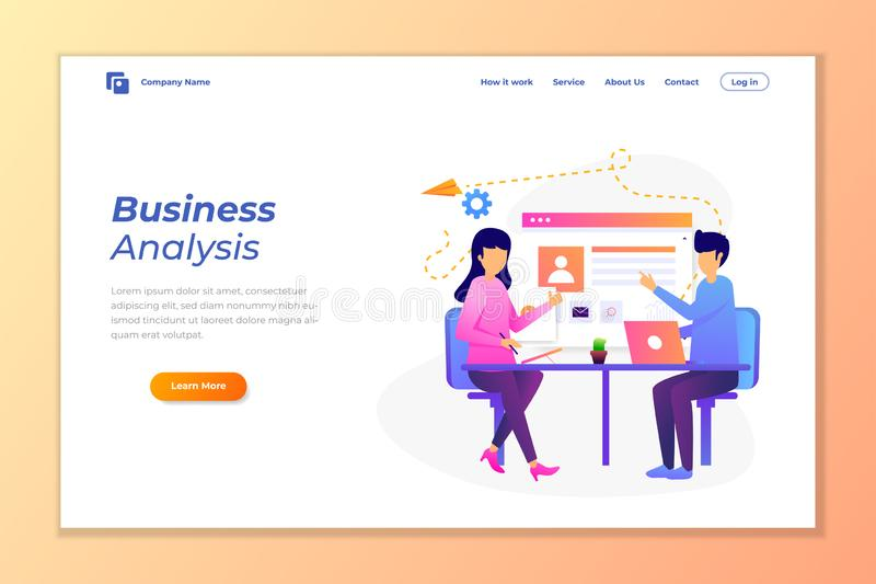 van de achtergrond Webbanner vector voor gegevensanalyse, digitale marketing, groepswerk, bedrijfsstrategie en analyse stock illustratie