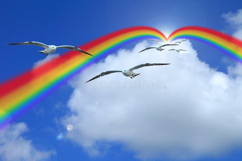 Van de achtergrond wolken blauwe hemel bewolkte textuurregenboog stock foto