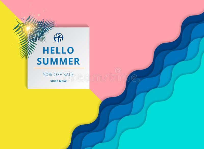 Van de de achtergrond zomerverkoop malplaatjelay-out voor banner vector illustratie