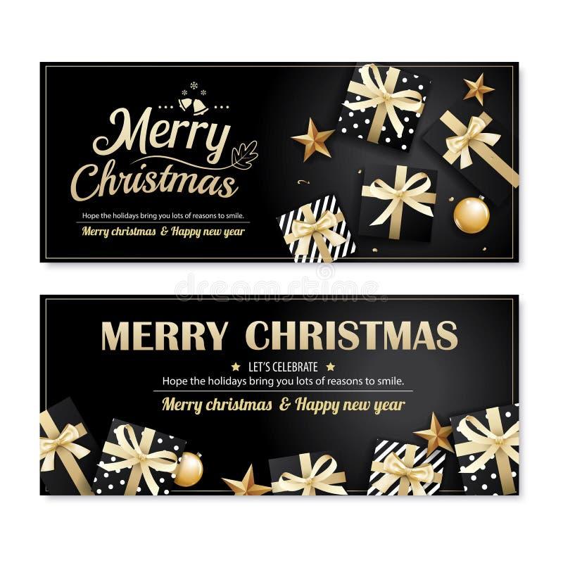 Van de de affichebanner en kaart van uitnodigings vrolijk Kerstmis ontwerp templat stock illustratie