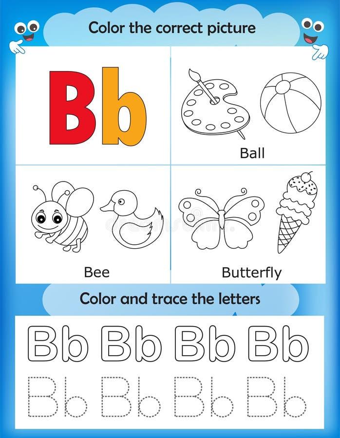 Van de alfabet het leren en kleur brief B royalty-vrije illustratie