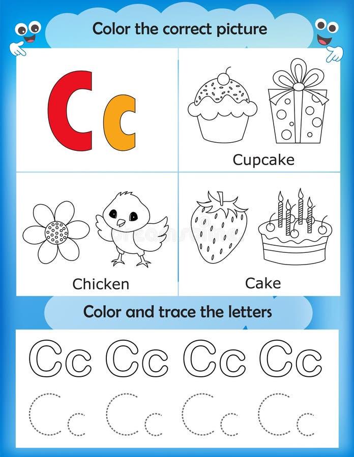 Van de alfabet het leren en kleur brief C vector illustratie