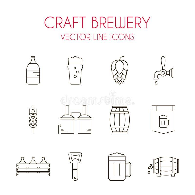 Van de ambachtbier en brouwerij de vectorreeks van het lijnpictogram vector illustratie