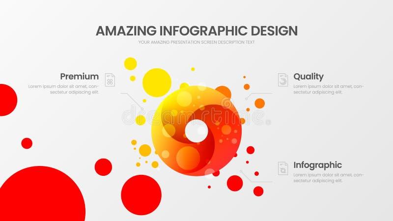 van de analyticspresentatie van de 3 optiecirkel vector de illustratiemalplaatje Verbazend kleurrijk rond organisch statistieken  vector illustratie