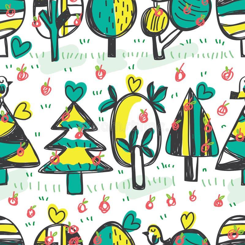 Van de de appel het horizontale vrije tekening van de boomvogel naadloze patroon stock illustratie