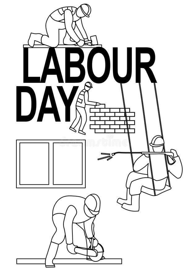 Van de de arbeidersaffiche van de arbeidsdag banner 1 Mei-de illustratie van de groetkaart van Dag van de Arbeidarbeiders in acti vector illustratie