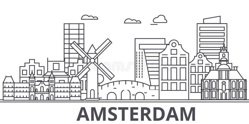 Van de de architectuurlijn van Amsterdam de horizonillustratie Lineaire vectorcityscape met beroemde oriëntatiepunten, stadsgezic vector illustratie