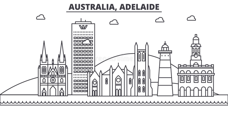 Van de de architectuurlijn van Australië, Adelaide de horizonillustratie Lineaire vectorcityscape met beroemde oriëntatiepunten,  vector illustratie