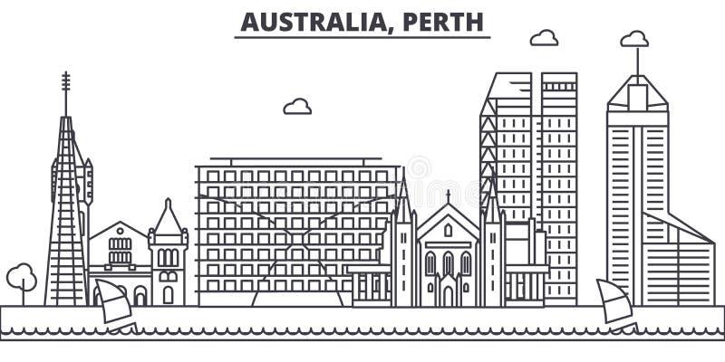Van de de architectuurlijn van Australië, Perth de horizonillustratie Lineaire vectorcityscape met beroemde oriëntatiepunten, sta vector illustratie