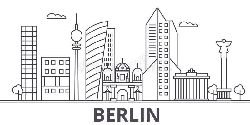 Van de de architectuurlijn van Berlijn de horizonillustratie Lineaire vectorcityscape met beroemde oriëntatiepunten, stadsgezicht royalty-vrije illustratie