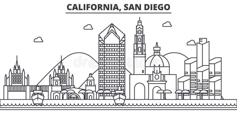 Van de de architectuurlijn van Californië San Diego de horizonillustratie Lineaire vectorcityscape met beroemde oriëntatiepunten, vector illustratie