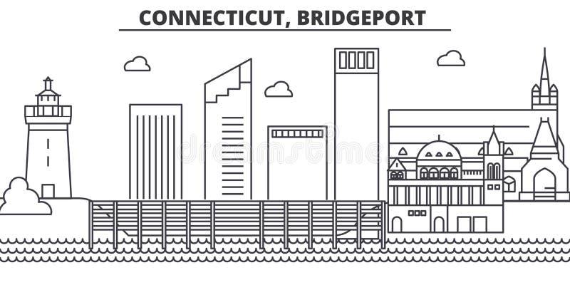 Van de de architectuurlijn van Connecticut, Bridgeport de horizonillustratie Lineaire vectorcityscape met beroemde oriëntatiepunt stock illustratie