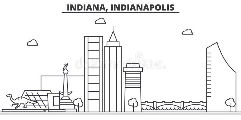Van de de architectuurlijn van Indiana, Indianapolis de horizonillustratie Lineaire vectorcityscape met beroemde oriëntatiepunten royalty-vrije illustratie