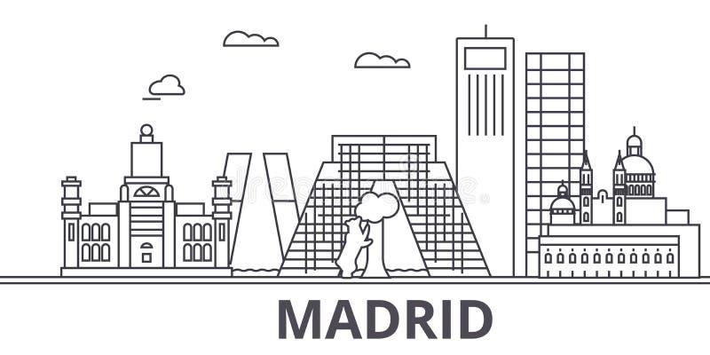 Van de de architectuurlijn van Madrid de horizonillustratie Lineaire vectorcityscape met beroemde oriëntatiepunten, stadsgezichte vector illustratie
