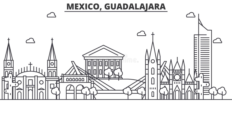 Van de de architectuurlijn van Mexico, Guadalajara de horizonillustratie Lineaire vectorcityscape met beroemde oriëntatiepunten,  stock illustratie