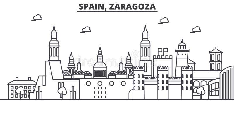 Van de de architectuurlijn van Spanje, Zaragoza de horizonillustratie Lineaire vectorcityscape met beroemde oriëntatiepunten, sta stock illustratie