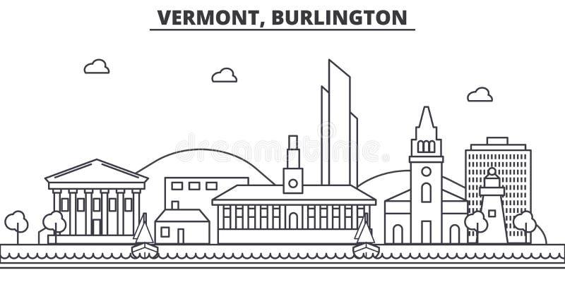 Van de de architectuurlijn van Vermont, Burlington de horizonillustratie Lineaire vectorcityscape met beroemde oriëntatiepunten,  stock illustratie