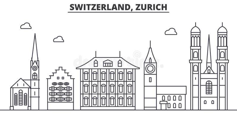 Van de de architectuurlijn van Zwitserland, Zürich de horizonillustratie Lineaire vectorcityscape met beroemde oriëntatiepunten,  royalty-vrije illustratie