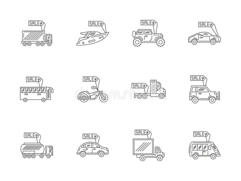 Van de autohuur en verkoop vlakke geplaatste lijnpictogrammen vector illustratie