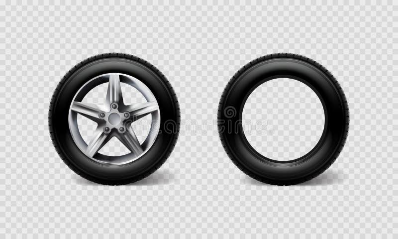 Van de autowielen van de voorraad de vectorillustratie realistische die bus van de de reeksband, vrachtwagen op transparante geru stock illustratie