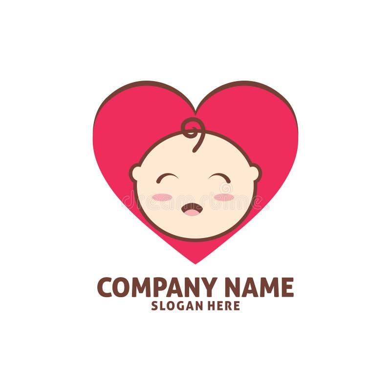 van de de babywinkel van de liefdevorm het gelukkige ontwerp van het het pictogramembleem vector illustratie