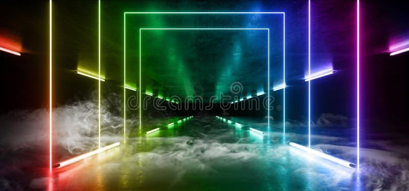 Van de de Baksteengang van Grunge van de rookmist Concrete van de Tunnel Donkere Hall Reflective Neon Glowing Sci Trillende de We vector illustratie