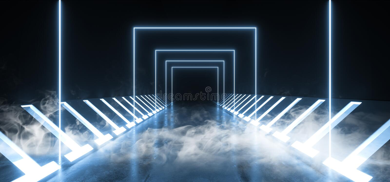 Van de de Baksteengang van rook Concrete Grunge van de Tunnel Donkere Hall Reflective Neon Glowing Sci de Weg Purpere Blauwe Tril vector illustratie