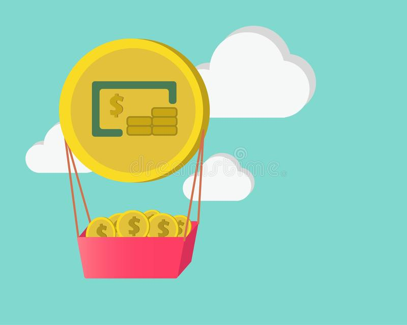 Van de ballonmuntstuk en wolk bedrijfsfinanciënconcept royalty-vrije stock afbeelding