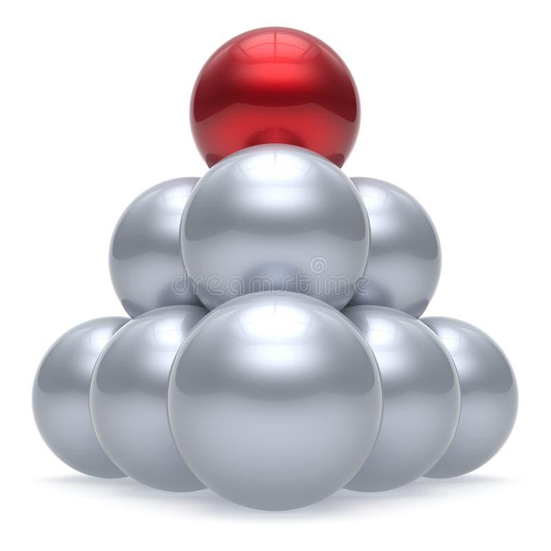 Van de de balpiramide van het leidersgebied van het de hiërarchiebedrijf de rode bovenkantorde vector illustratie