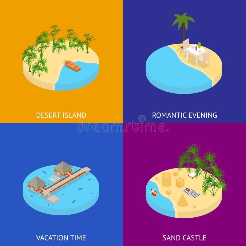 Van de de Bannerkaart van de strandvakantie de Vastgestelde 3d Isometrische Mening Vector royalty-vrije illustratie