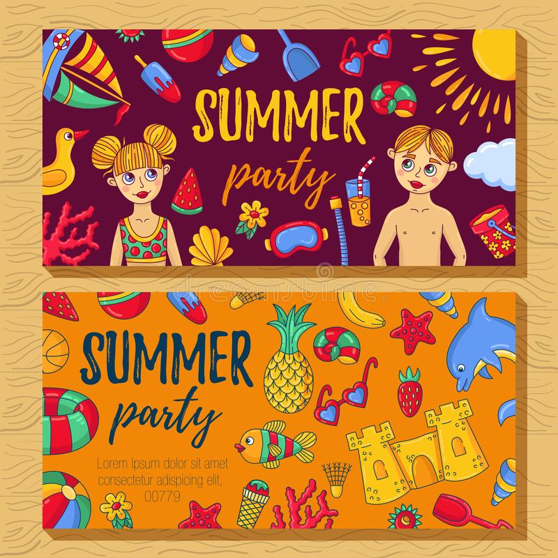 Van de de banners het leuke krabbel van de de zomerpartij vectorontwerp vector illustratie
