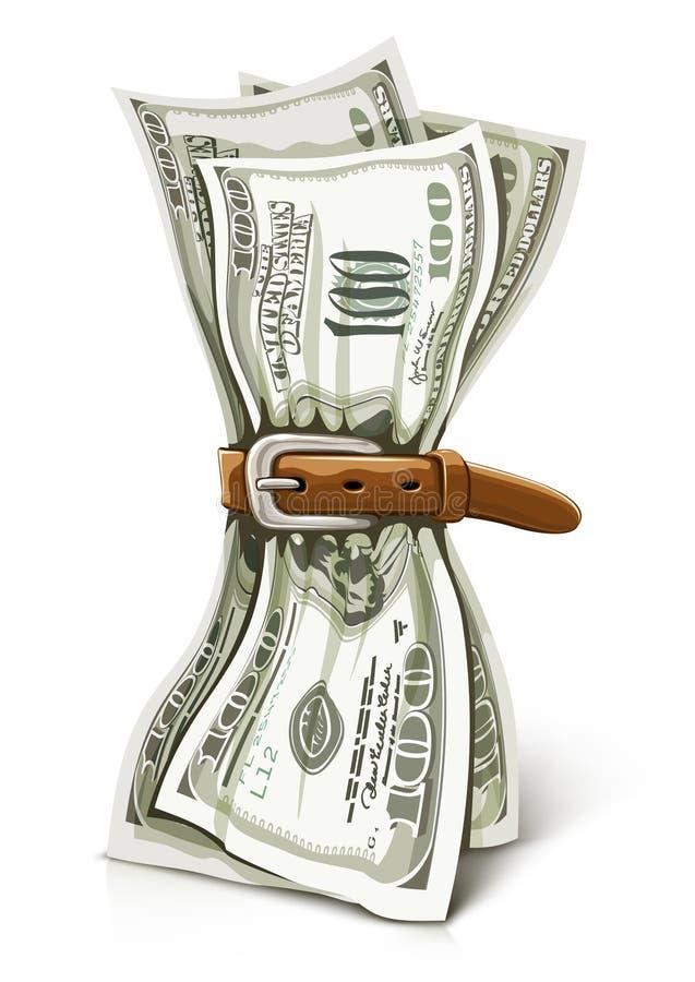 Van de bedrijfs crisis concept met verpletterd dollarsgeld royalty-vrije illustratie