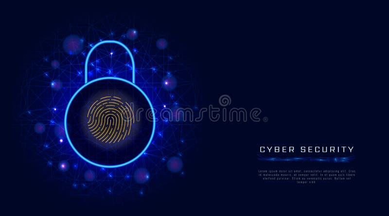 Van de Bedrijfs cyberveiligheid concept op abstracte achtergrond Digitaal gegevensbeschermingontwerp, hangslot veilige toegang do vector illustratie