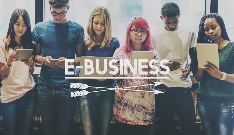 Van de bedrijfs e-businesselektronische handel Globaal Concept royalty-vrije stock afbeelding