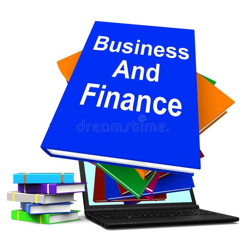 Van de bedrijfs en Financiënlaptop Boekstapel toont Bedrijfsfinanciën vector illustratie