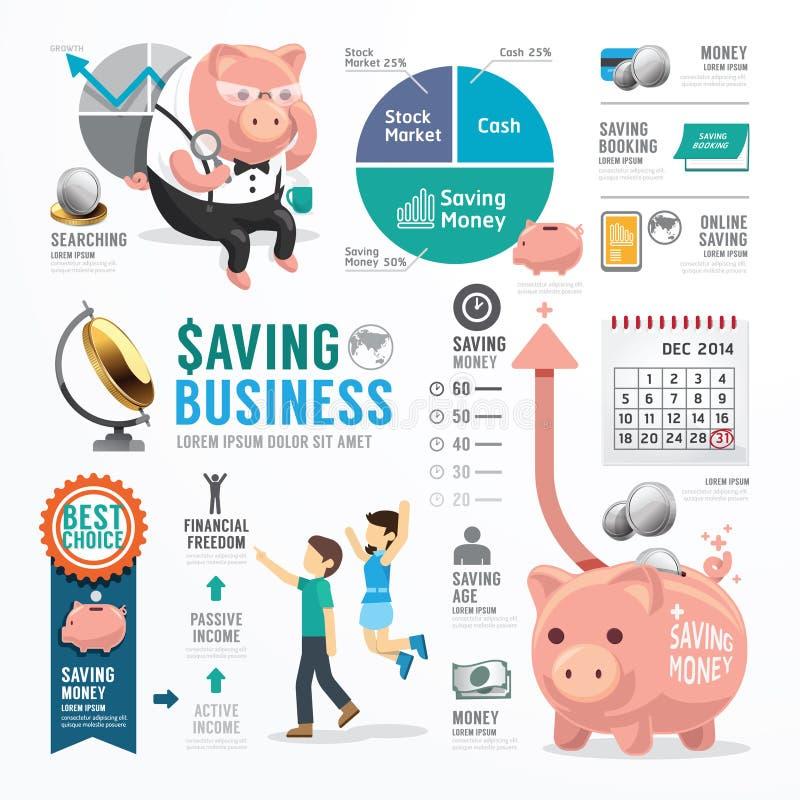 Van de bedrijfs geldbesparing Malplaatjeontwerp Infographic Concept stock illustratie